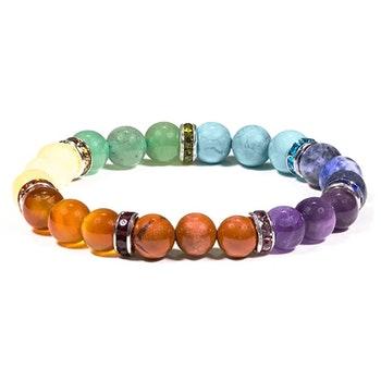 7 chakra kristallarmband 8 mm pärlor